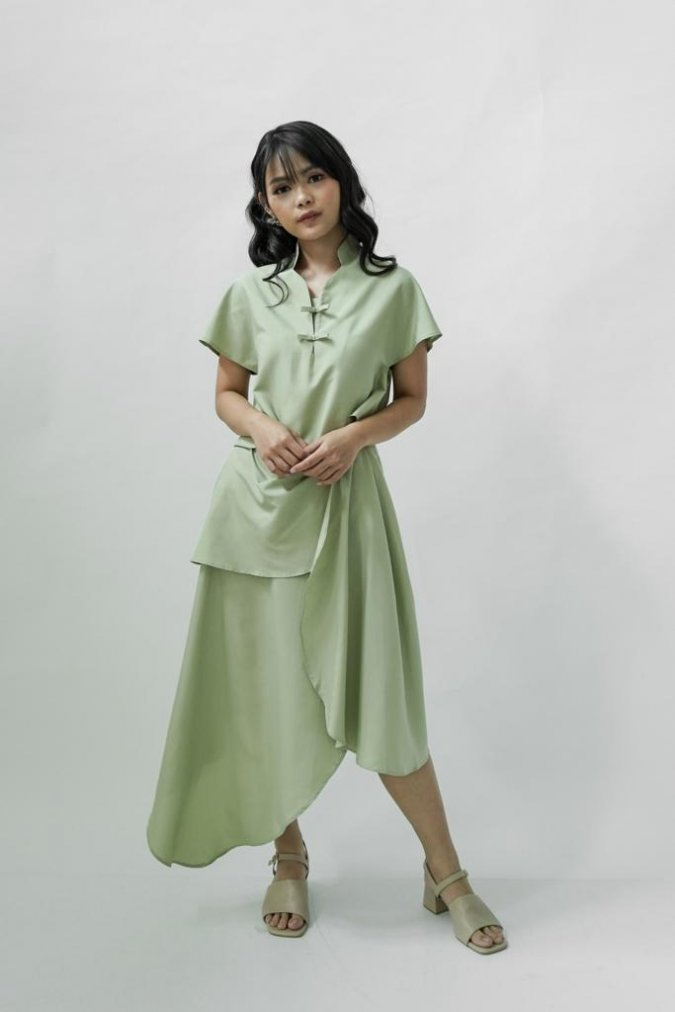 (BUNDLE) Gao Oriental Top + Shang Drape Skirt (Matcha)